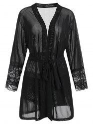 Plus Size Lace Panel Sheer Robe -