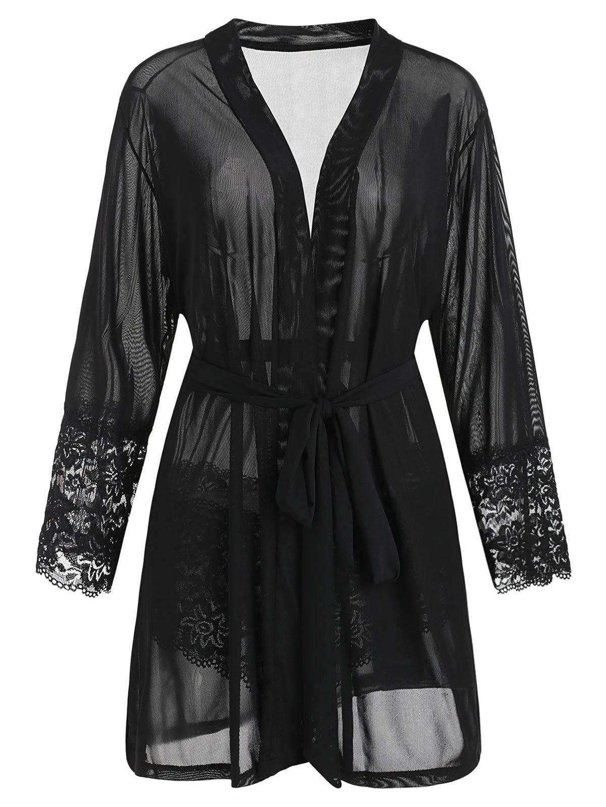 Fashion Plus Size Lace Panel Sheer Robe