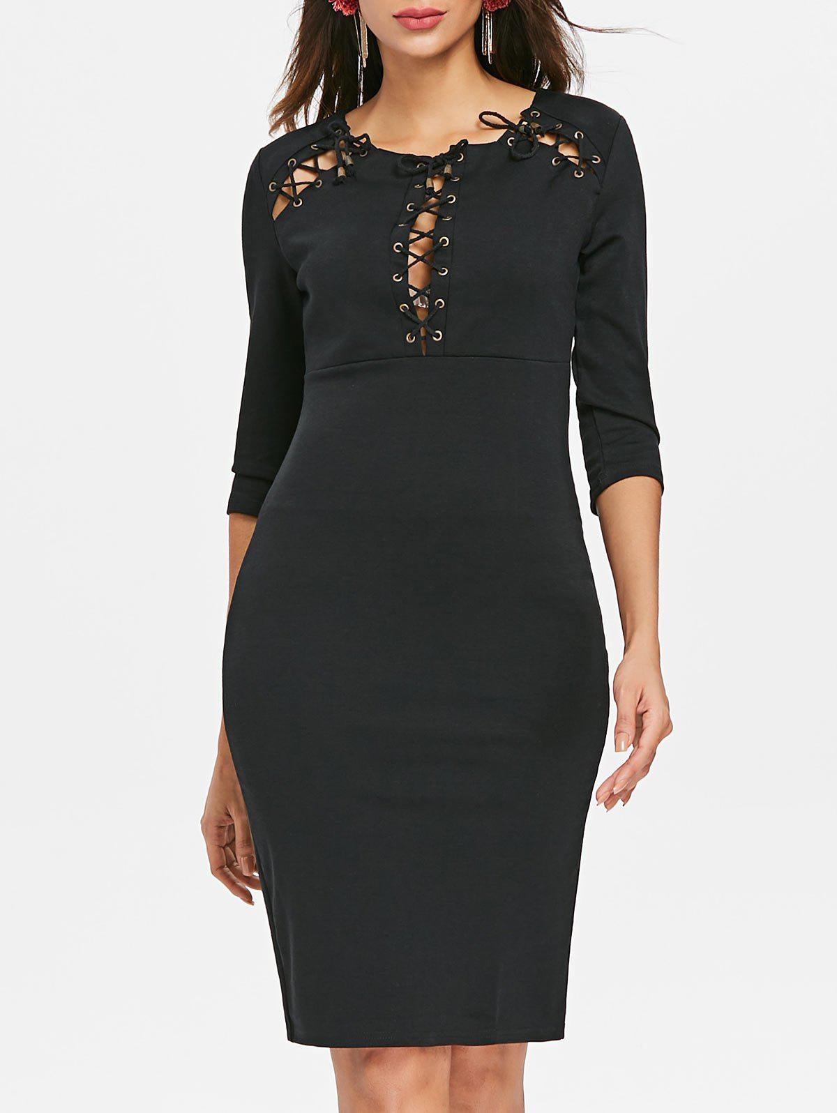 Chic Lace Up Party Pencil Dress