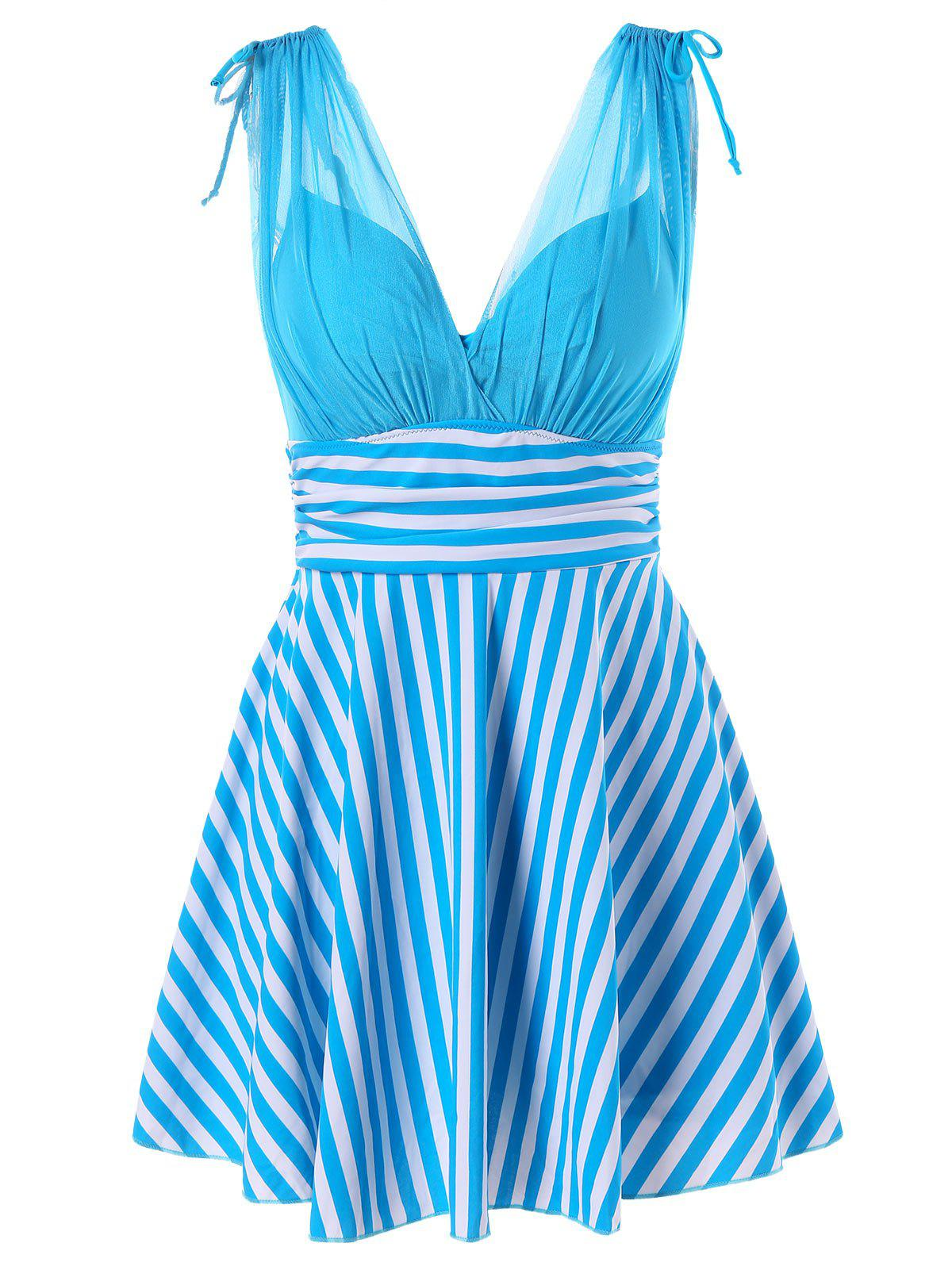 Fashion Empire Waist Stripe One Piece Skirted Swimsuit