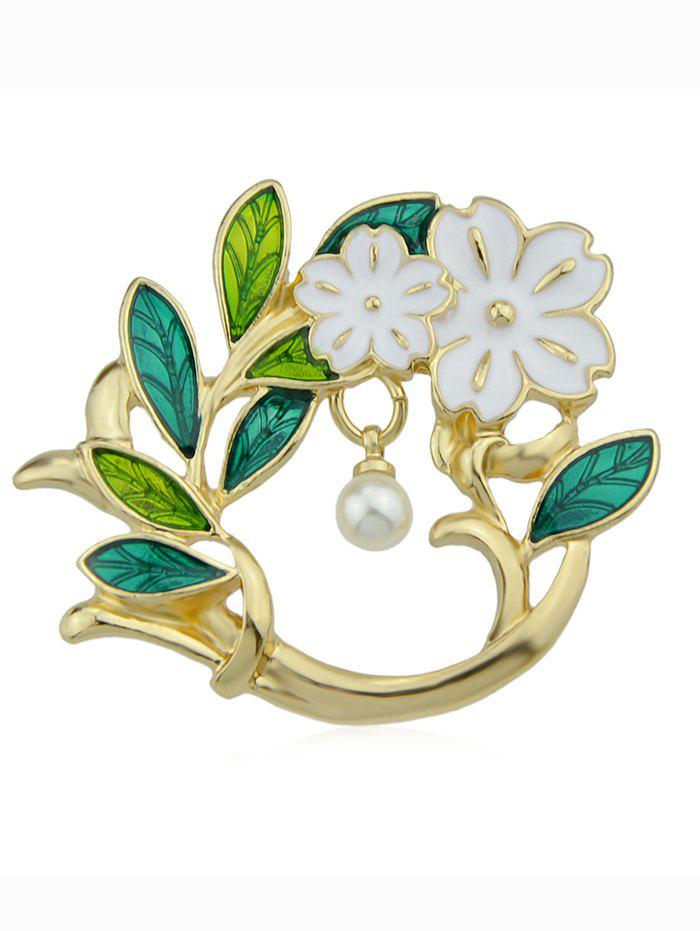 Chic Flower Brooch With Faux Pearl