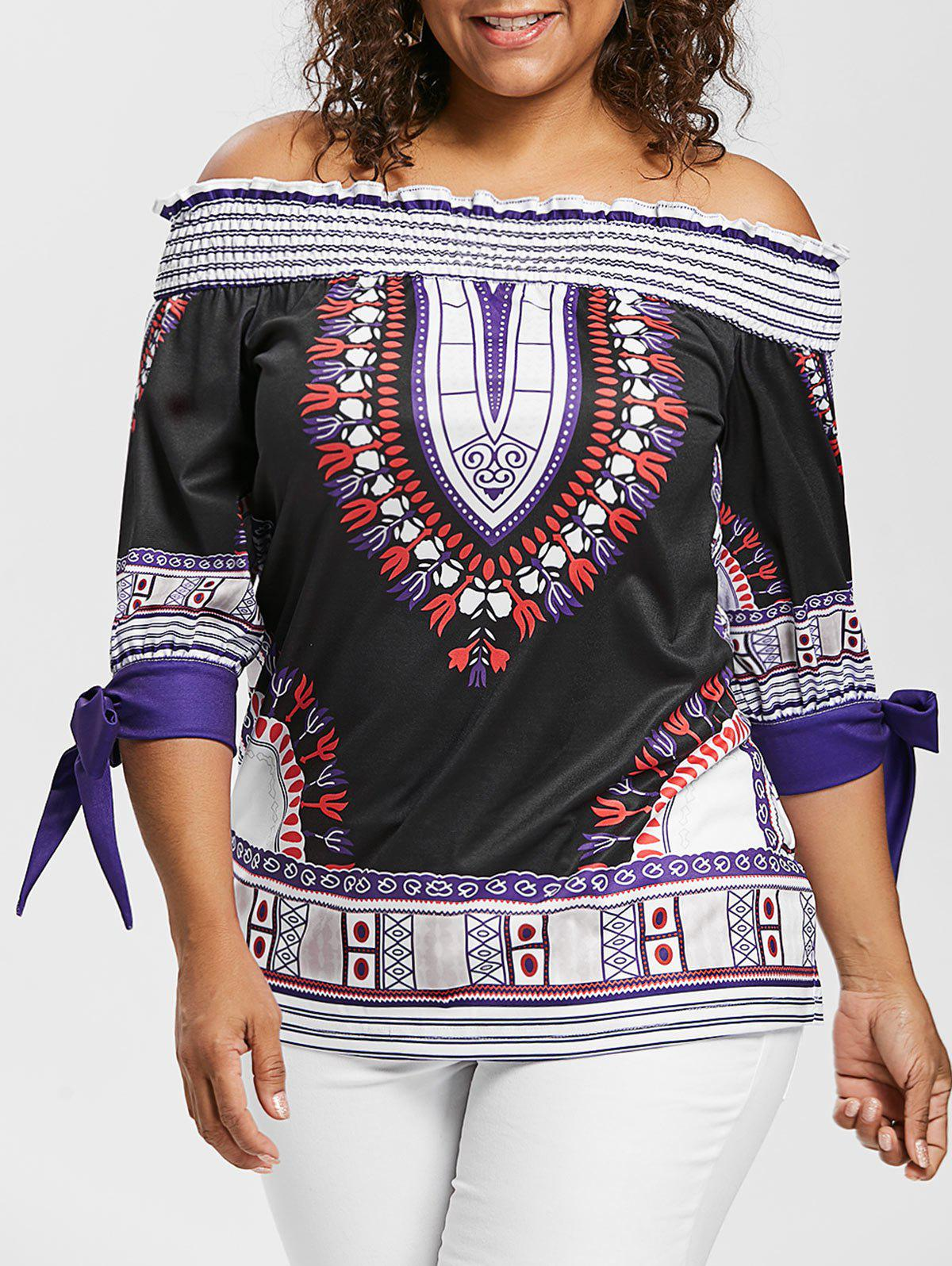 Discount Plus Size Off The Shoulder Printed Blouse With Tie