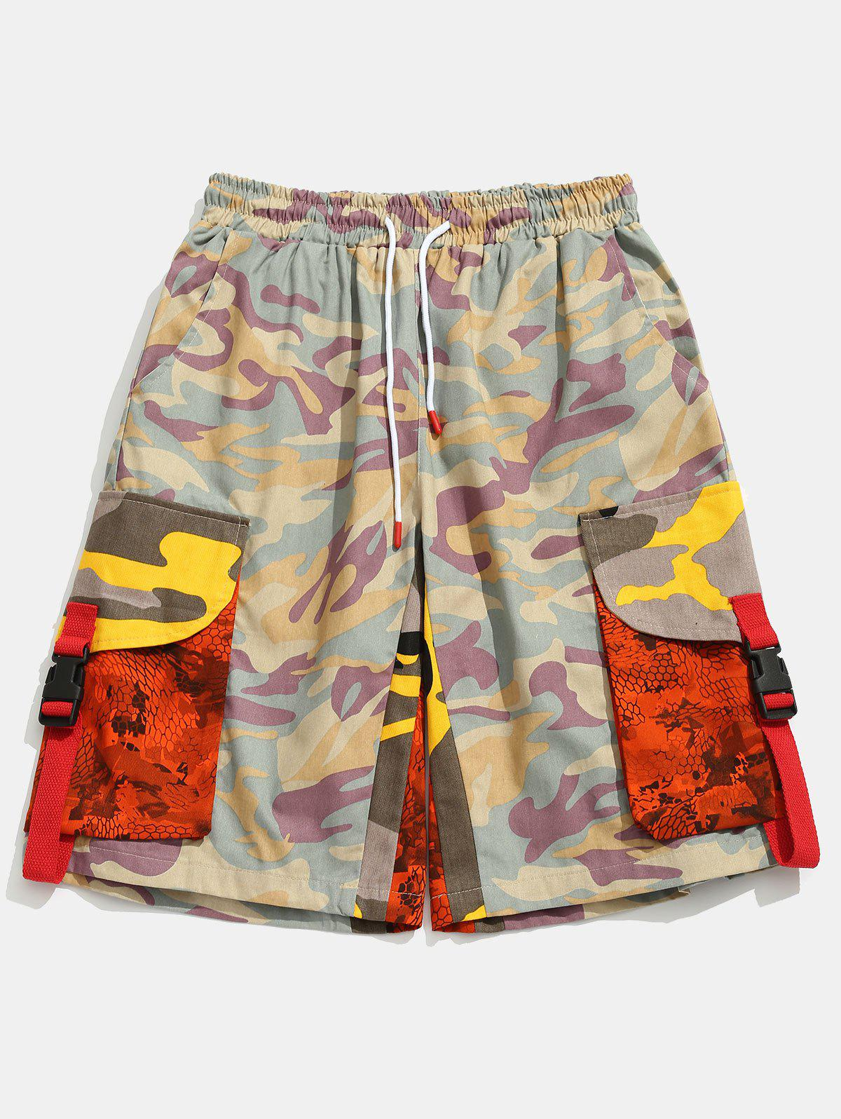 Fashion Contrast Camouflage Patch Pockets Cargo Shorts