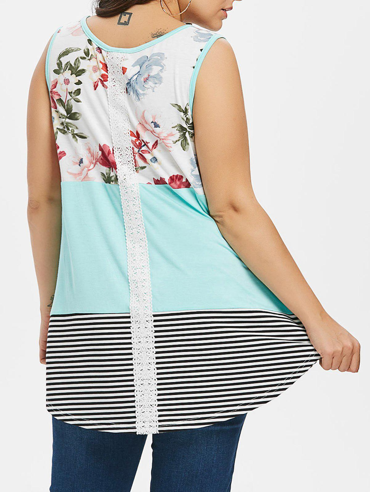 Fashion Floral and Striped Print Plus Size Tank Top