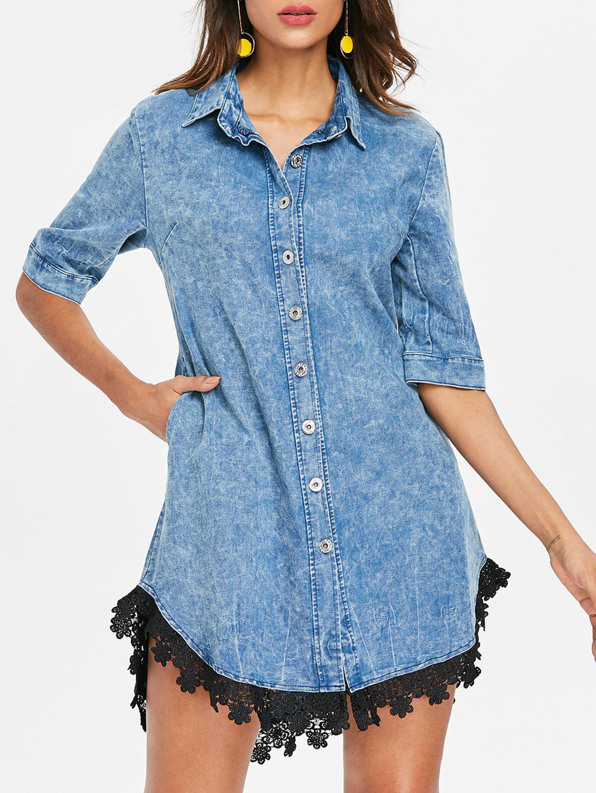 Latest Button Up Lace Hemline Denim Dress