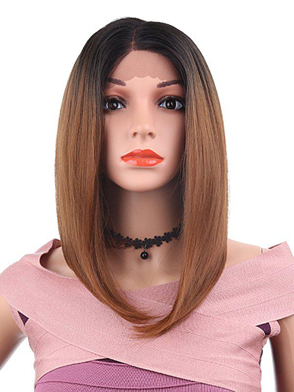 Fashion Medium Side Parting Straight Bob Lace Front Synthetic Wig