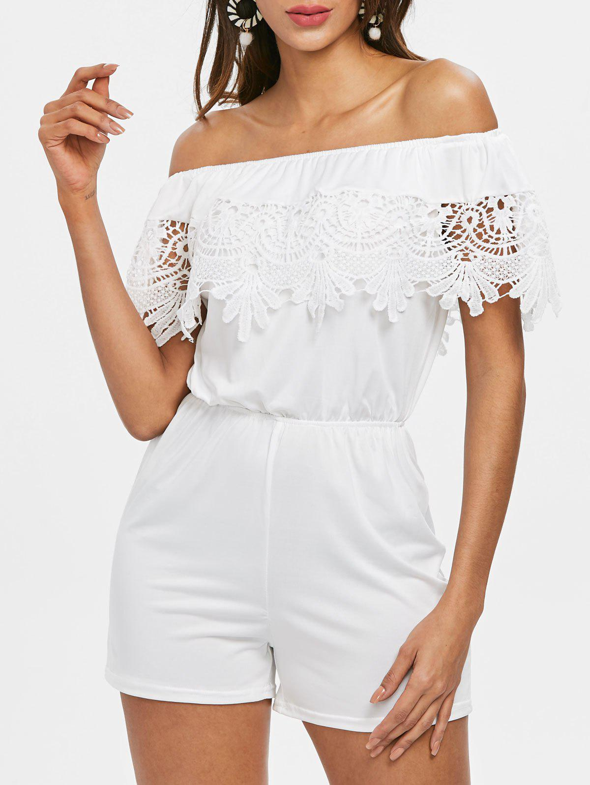 Outfits Off The Shoulder Lace Insert Romper