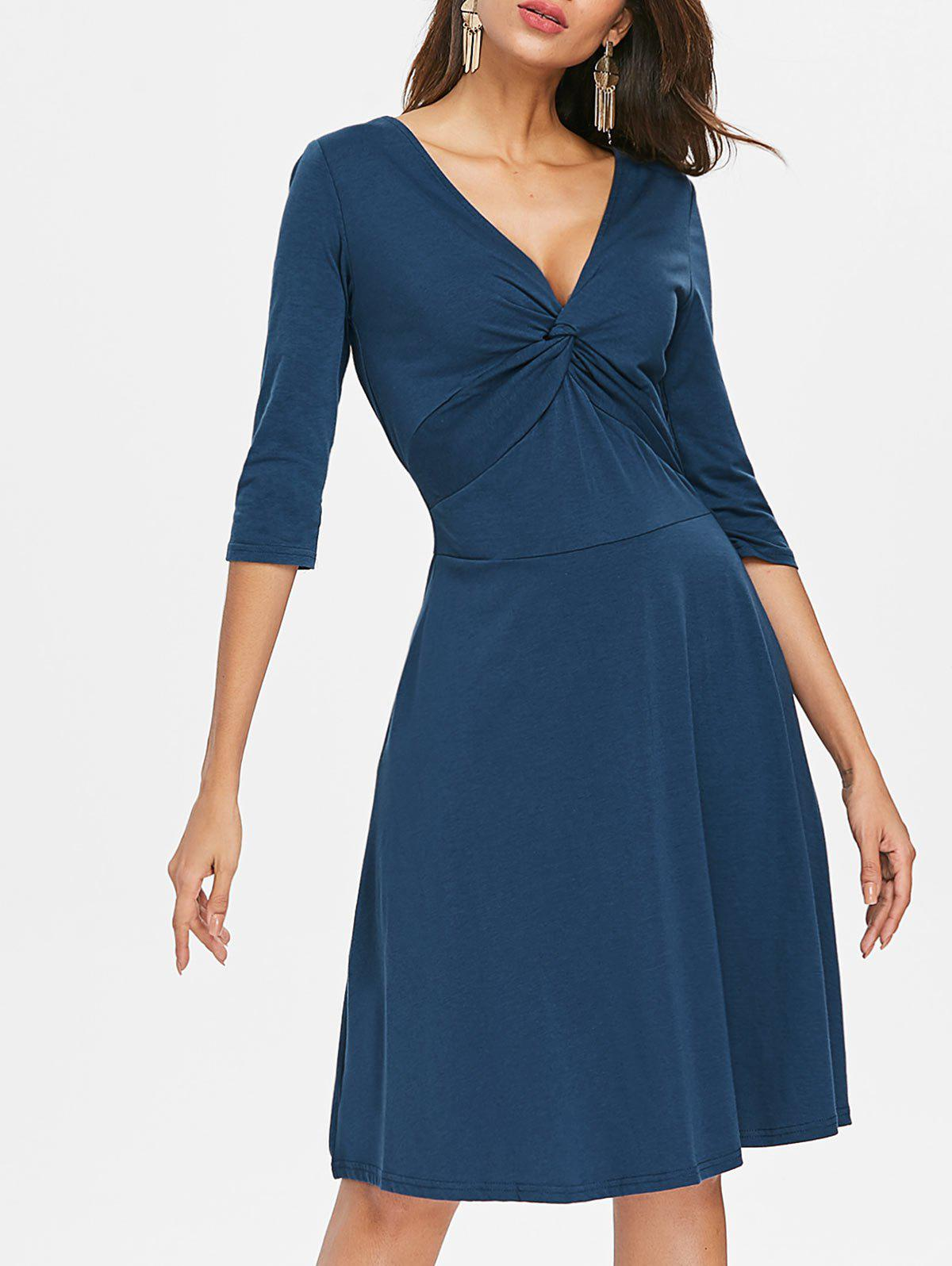 Hot V Neck Knot A Line Dress