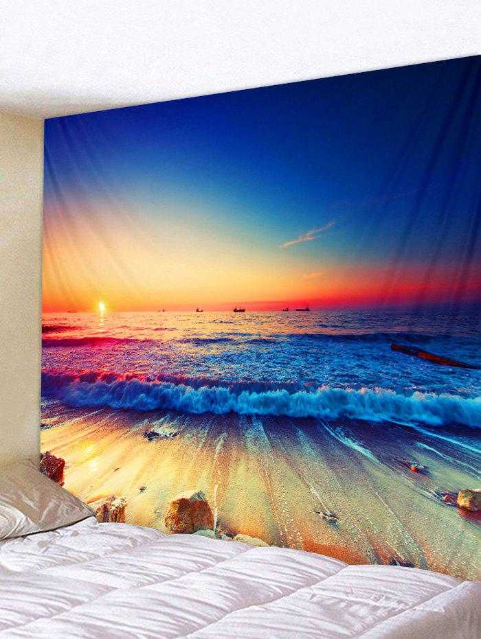 Affordable Sea Beach Sunset Print Wall Tapestry Hanging Decor