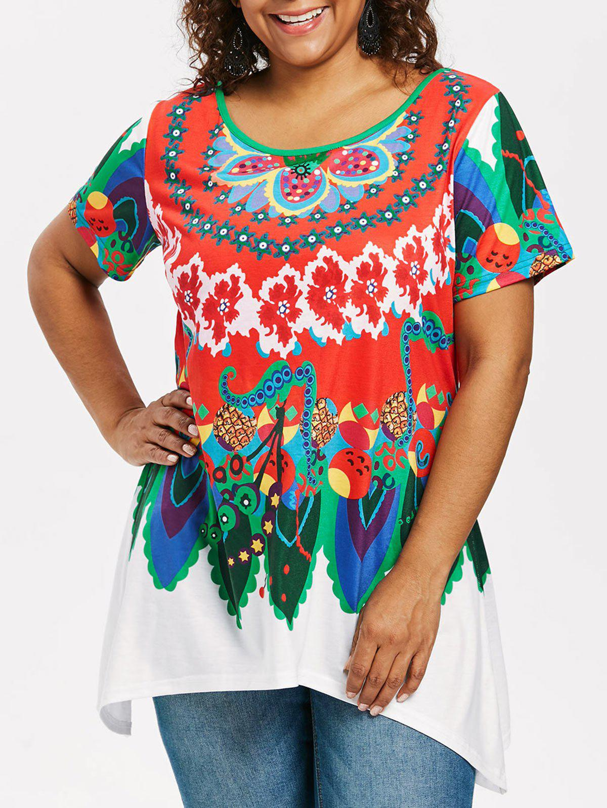 Shop Plus Size Ethnic Pattern T-shirt