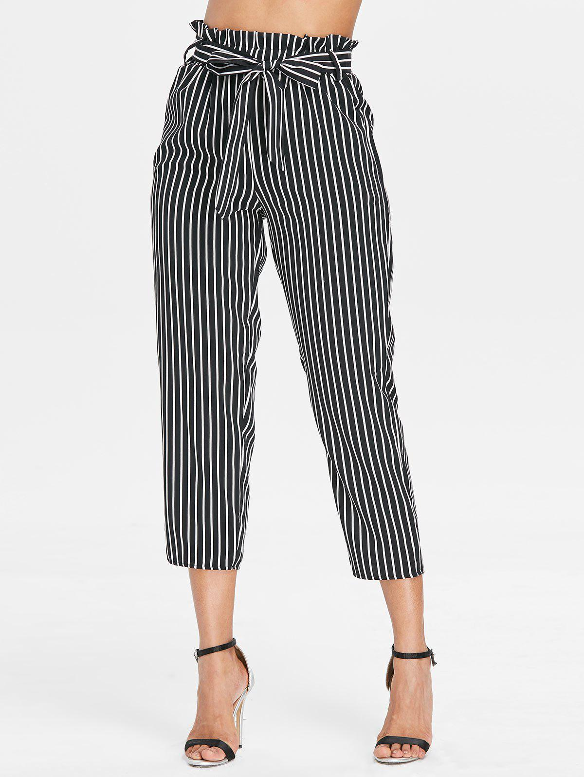 Trendy Belted Striped Tapered Pants