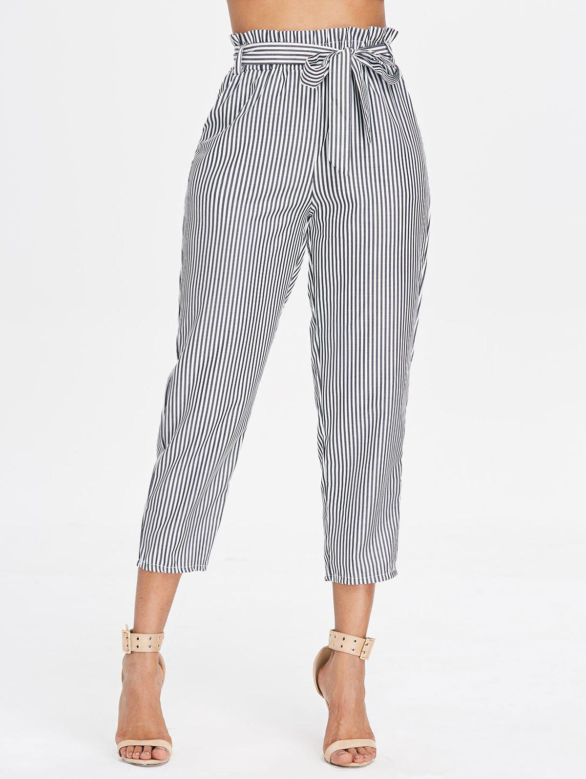 Sale Belted Striped Tapered Pants