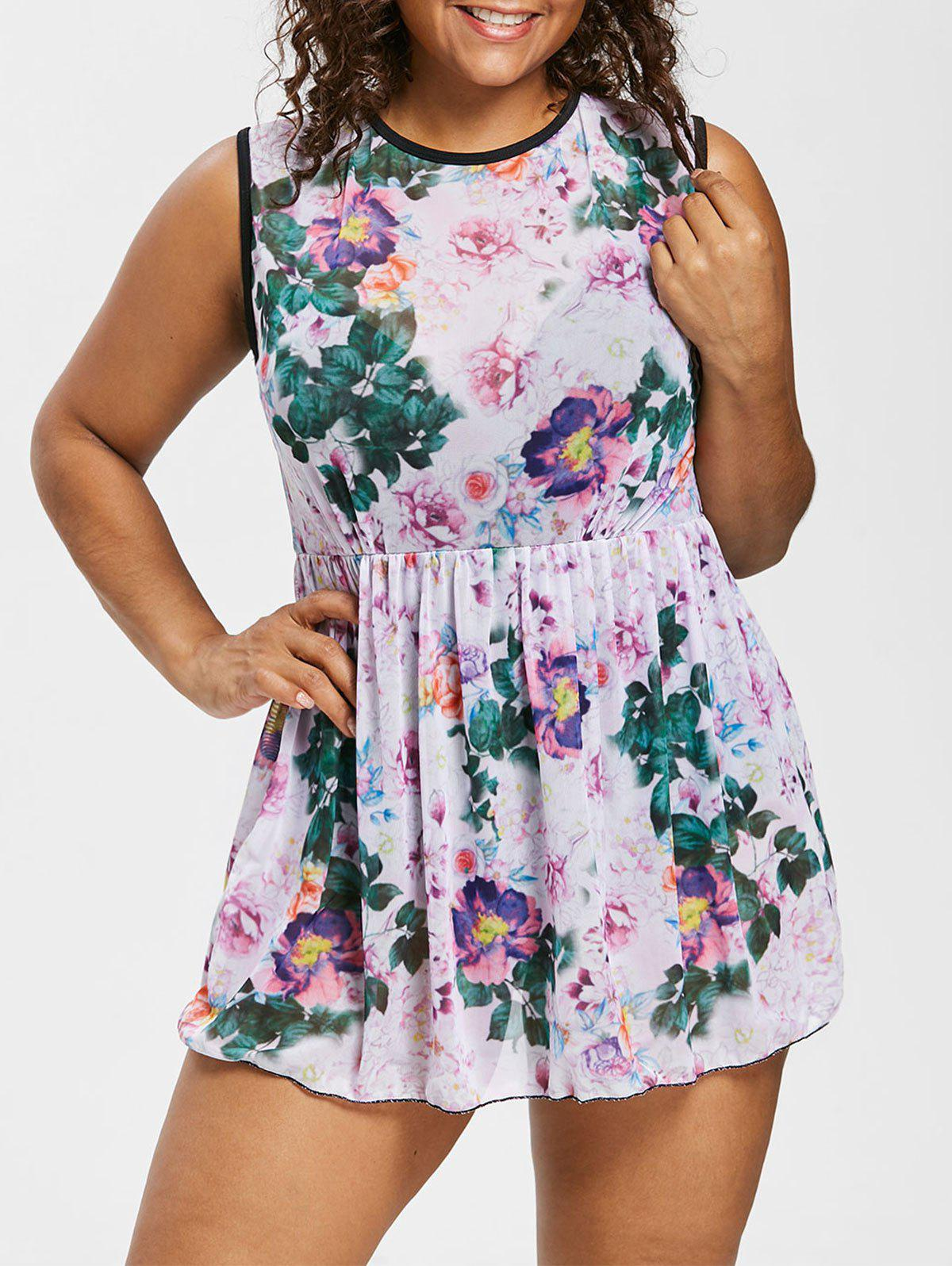 Chic Plus Size Open Back Floral One Piece Swimsuit