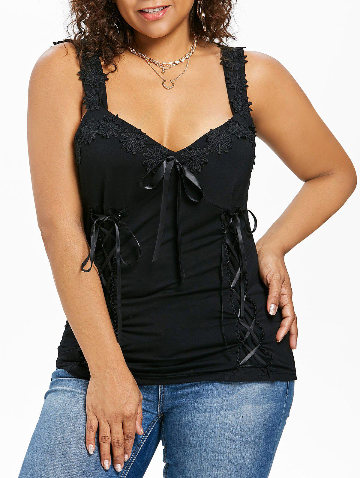 Unique Plus Size Lace Up Appliqued Tank Top