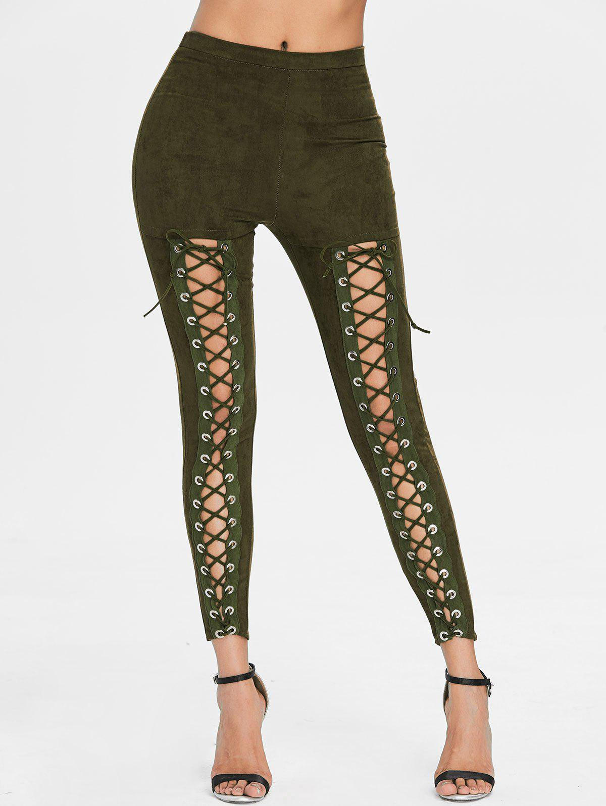 Affordable Criss Cross Faux Suede Pants