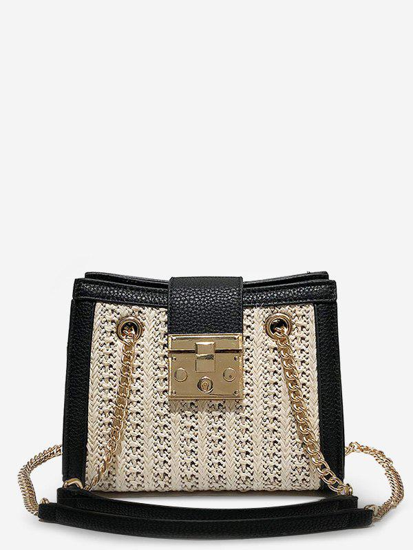 Trendy Hasp Panel Straw Chain Shoulder Bag