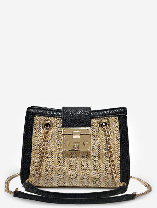 Fancy Hasp Panel Straw Chain Shoulder Bag