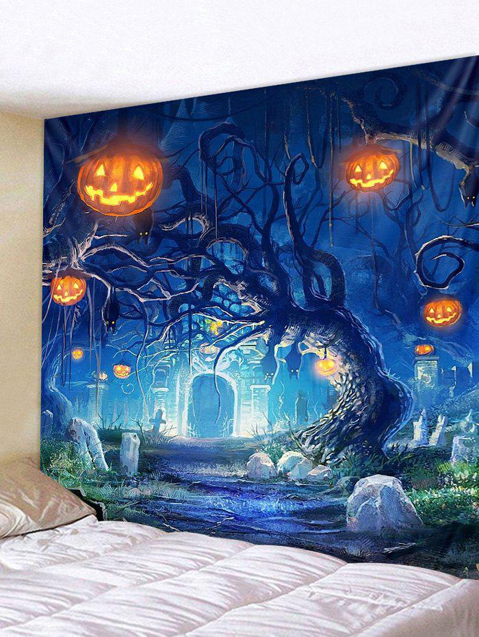 Affordable Halloween Pumpkins Tree Print Wall Tapestry Hanging Decor