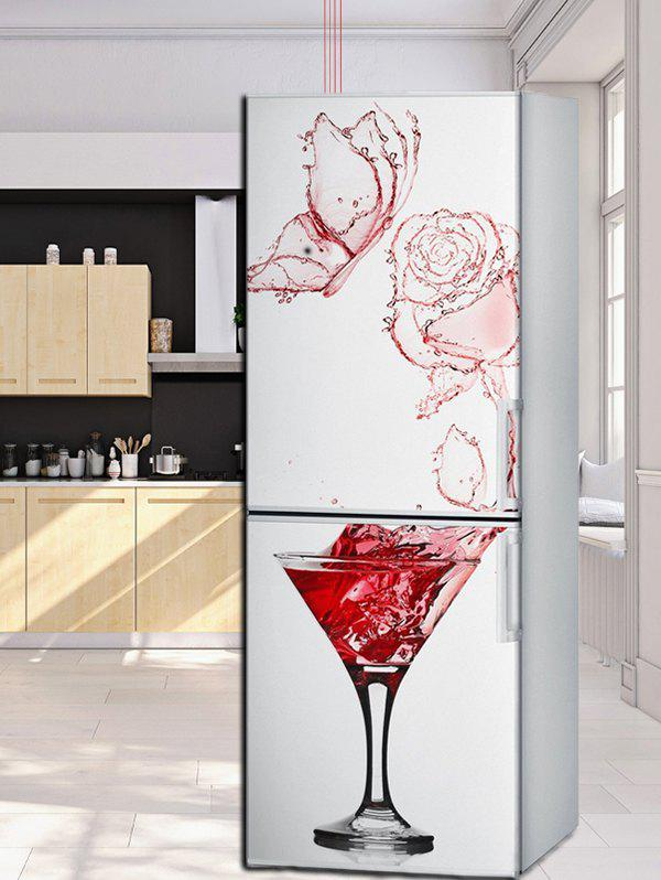 Hot Red Wine Glass Refrigerator Art Stickers
