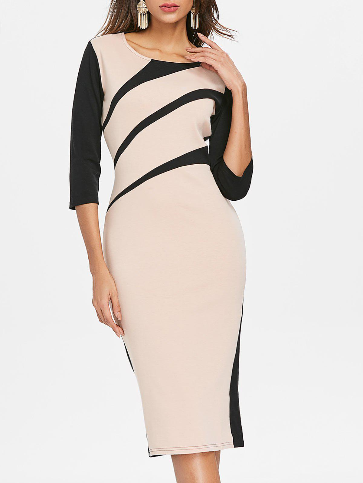 Best Two Tone Midi Work Dress