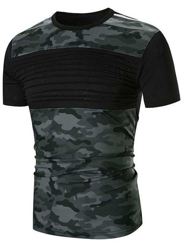 Chic Chest Pleated Camouflage Patchwork Casual T-shirt