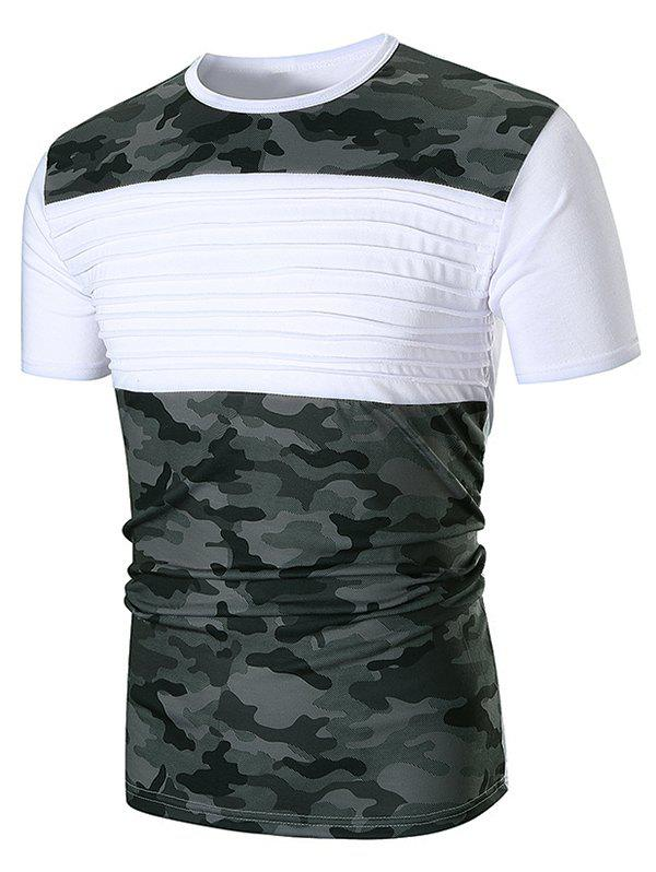 Shop Chest Pleated Camouflage Patchwork Casual T-shirt