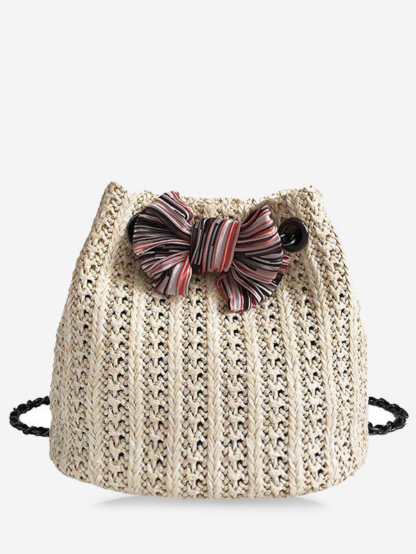 Unique Straw Bow Chain Crossbody Bucket Bag