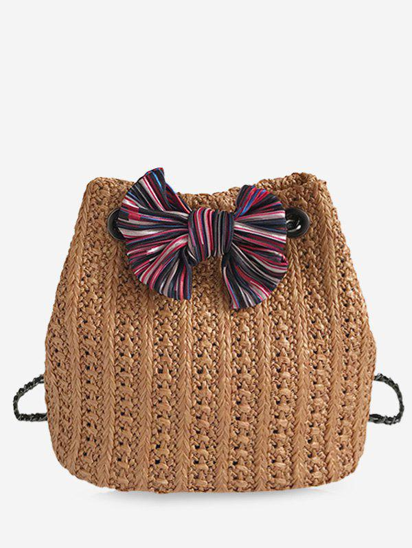 Online Straw Bow Chain Crossbody Bucket Bag