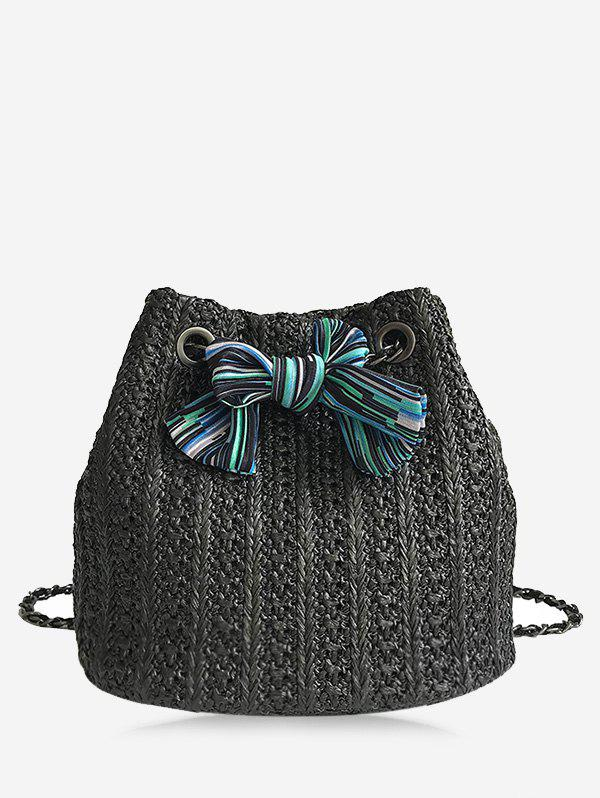 Fashion Straw Bow Chain Crossbody Bucket Bag
