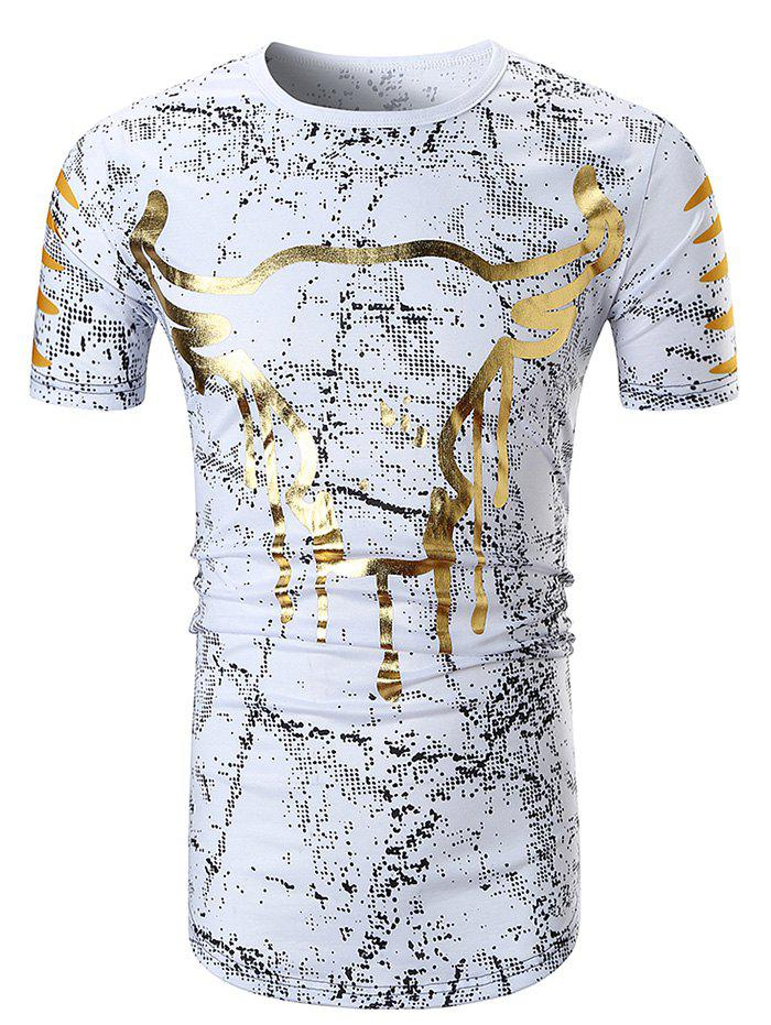 Unique Bull Print Spot Hem Curved T-shirt