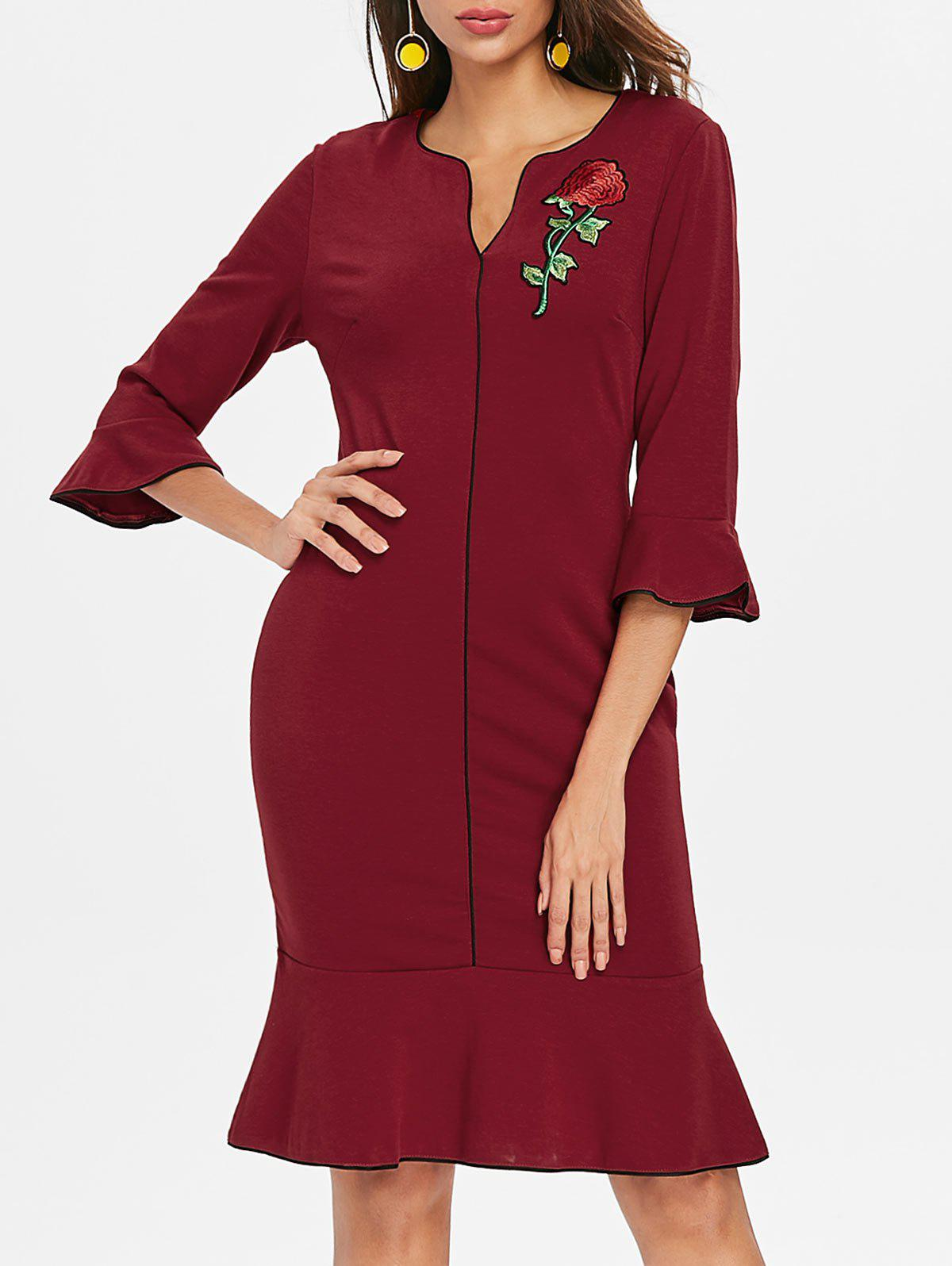 New Flare Sleeve Embroidery Bodycon Dress