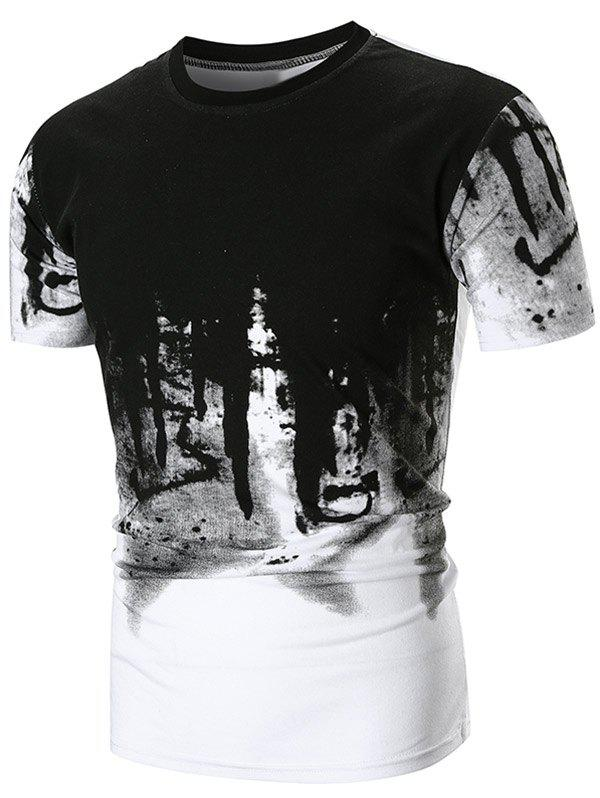 Hot Abstract Ink Painting Printed T-shirt