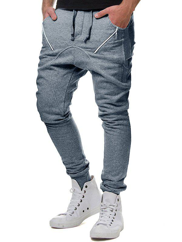 Fashion Drawstring Elastic Waist Oblique Zipper Decorated Jogger Pants
