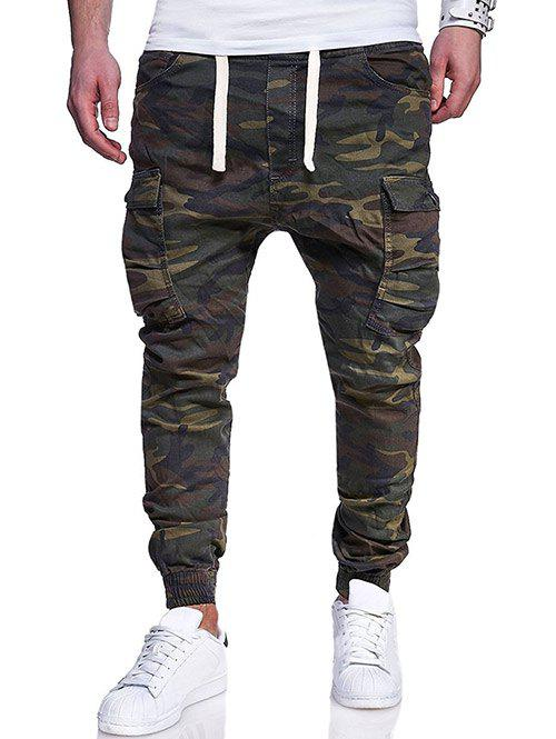 Affordable Camo Pattern Seven Pockets Stretchy Waist Jogger Pants