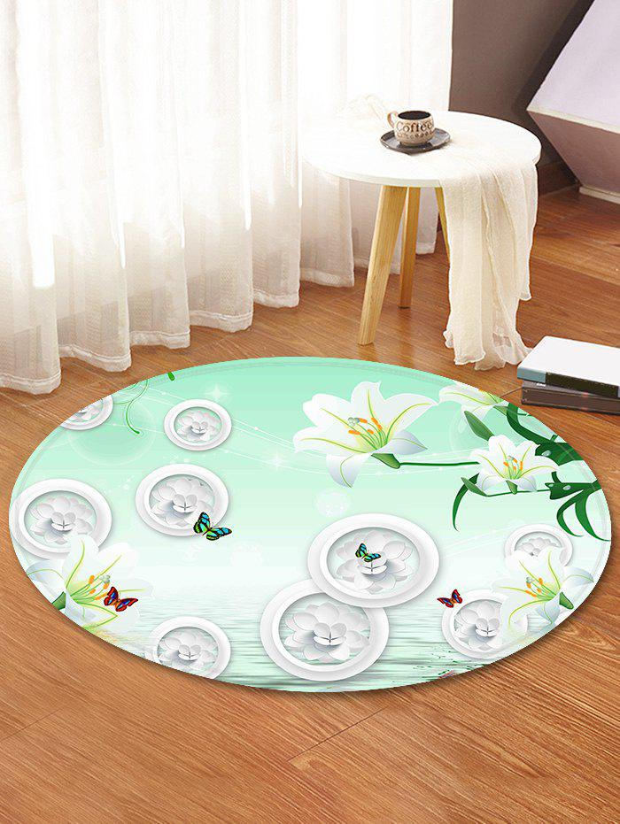 Chic Flowers Pattern Anti-skid Round Floor Rug