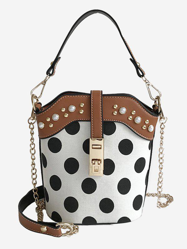 Latest Polka Dot Faux Pearl Chain Bucket Bag