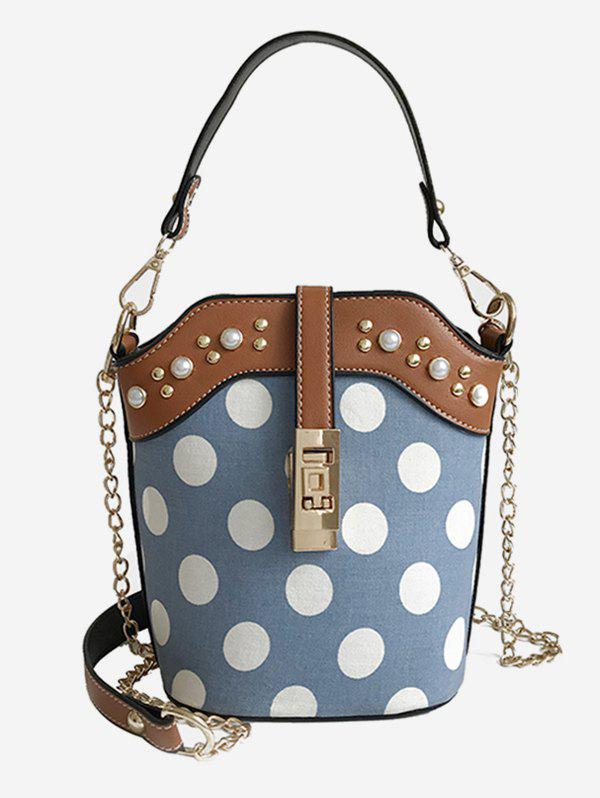 Sale Polka Dot Faux Pearl Chain Bucket Bag