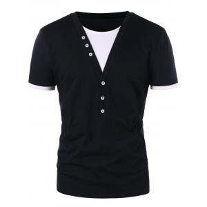 Contrast Color Button Embellished T-shirt -