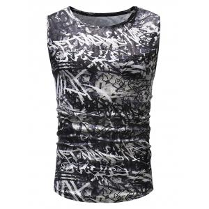 Streetwear Graffiti Print Hem Curved Tank Top -