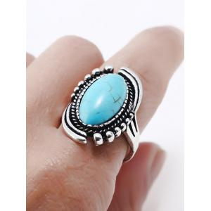 Oval Design Artificial Gemstone Ring -