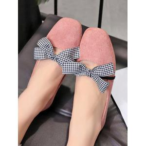 Plaid Bow Embellished Casual Ballet Flats -