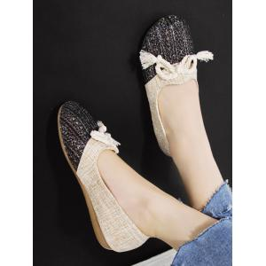 Leisure Vintage Splicing Color Block Bowknot Flats -