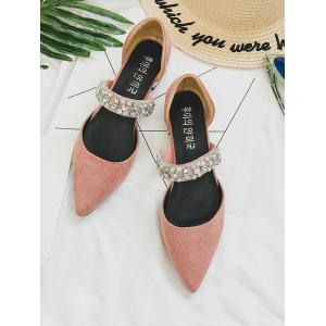 Crystal Decoration Pointed Toe Low Heel Flats -