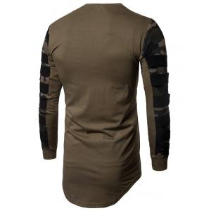 Camouflage Mesh Cloth Splicing Long Sleeve Tee -