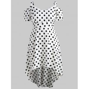 Плюс Размер Polka Dot High Low Dress -