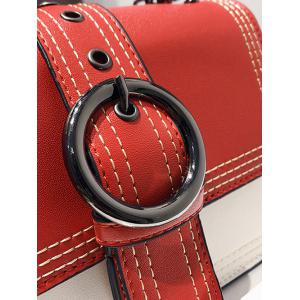 Contrasting Color Chain Flapped Buckled Crossbody Bag -