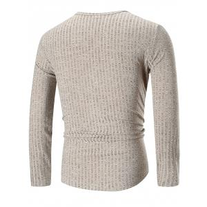 Solid Color Texture Splicing Long Sleeve Tee -