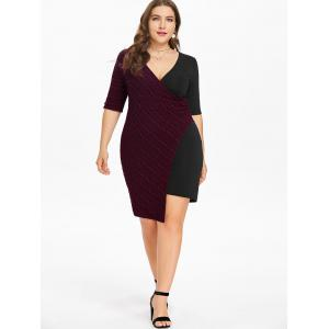 Plus Size Surplice Bodycon Dress -