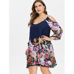 Plus Size Floral Knee Length Shift Dress -