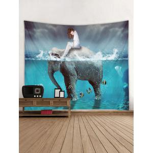 Water Elephant Woman Wall Tapestry Hanging Decoration -